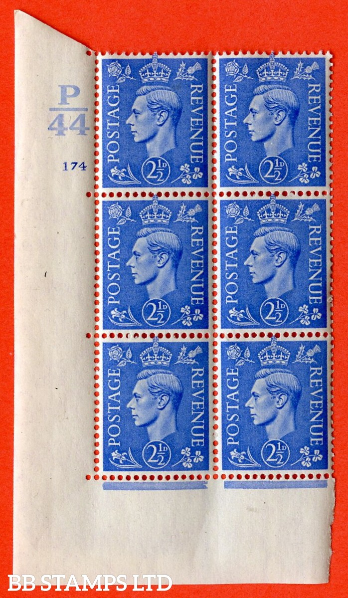 "SG. 489. Q14. 2½d Light ultramarine. A superb UNMOUNTED MINT "" Control P44 cylinder 174 no dot "" control block of 6 with perf type 5 E/I"