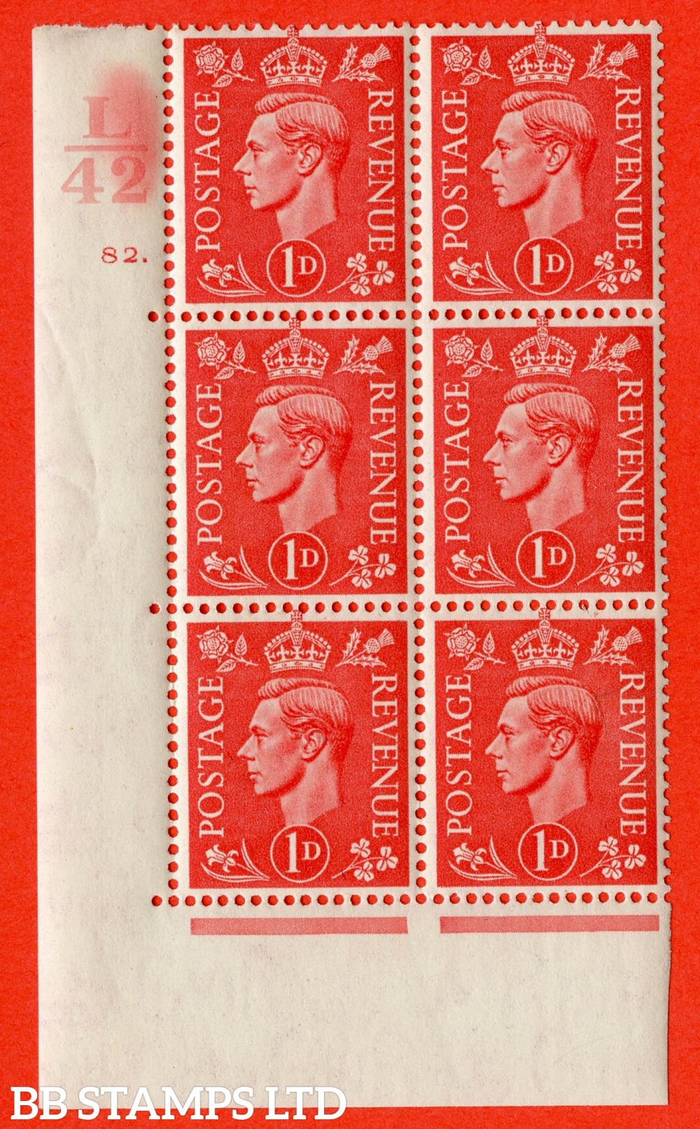 "SG. 486. Q5. 1d Pale scarlet. Asuperb UNMOUNTED MINT "" Control L42 cylinder 82 dot "" control block of 6 with perf type 5 E/I."