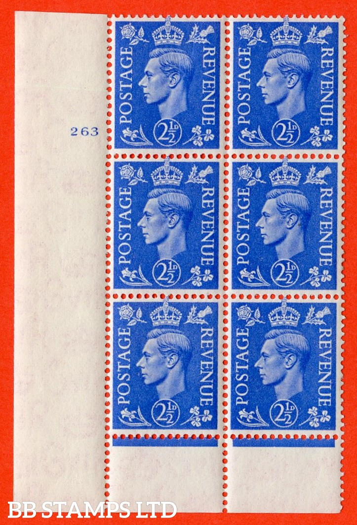 "SG. 489. Q14. 2½d Light ultramarine. A  superb UNMOUNTED MINT ""  No Control cylinder 263 no dot "" control block of 6 with perf type 6 I/P."