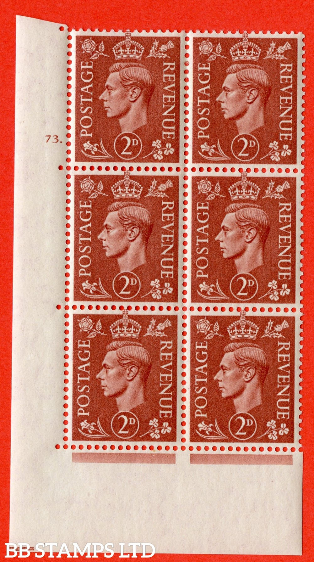 "SG. 506. Q12. 2d Pale Red-Brown. A superb UNMOUNTED MINT "" No Control cylinder 73 dot "" control block of 6 with perf type 5 E/I."