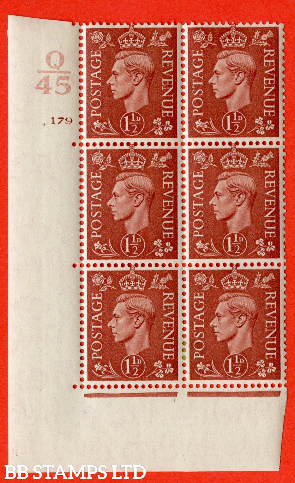 "SG. 487. Q8. 1½d Pale Red-Brown. A fine lightly mounted mint "" Control Q45 cylinder 179 no dot "" control block of 6 with perf type 5 E/I."