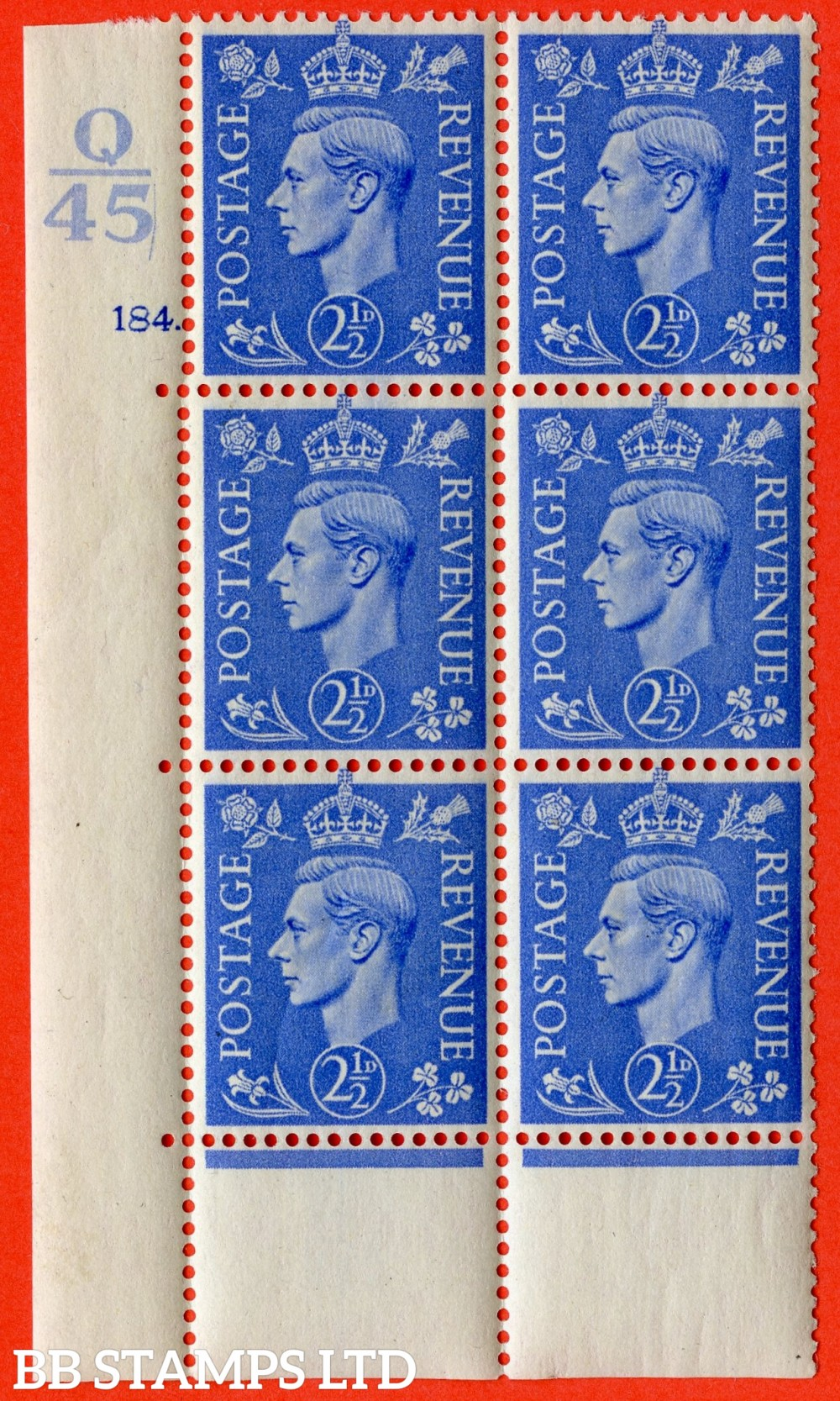 "SG. 489. Q14. 2½d Light ultramarine. A superb UNMOUNTED MINT ""  Control Q45 cylinder 184 dot "" control block of 6 with perf type 6B E/P."