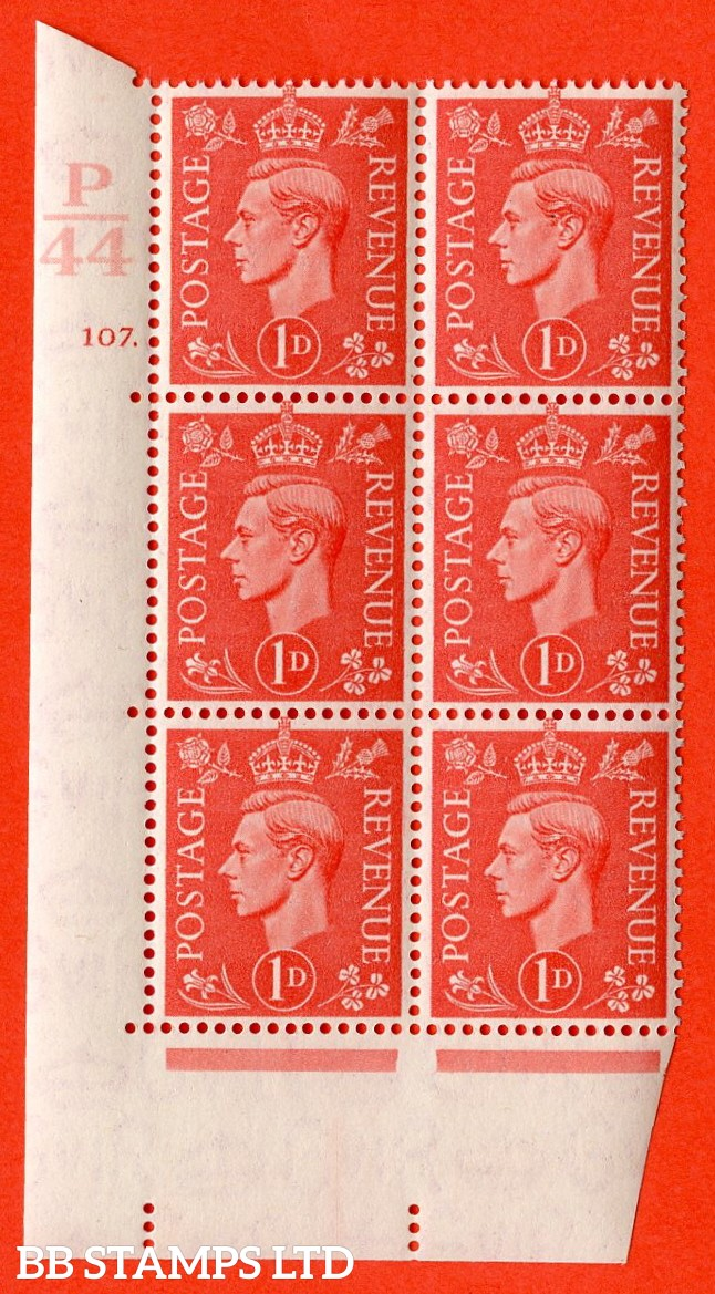 "SG. 486. Q5. 1d Pale scarlet. A superb UNMOUNTED MINT ""  Control P44 cylinder 107 dot "" control block of 6 with perf type 5 E/I."
