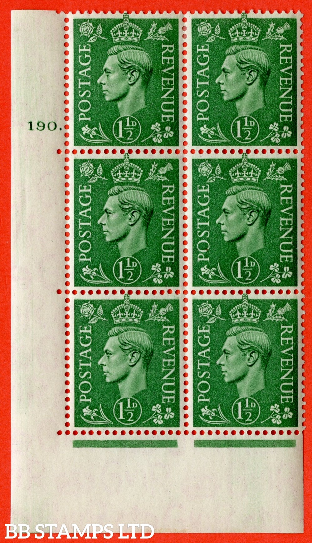 "SG. 505. Q9. 1½d Pale Green. A  very fine lightly mounted mint "" No Control cylinder 190 dot "" control block of 6 with perf type 5 E/I."