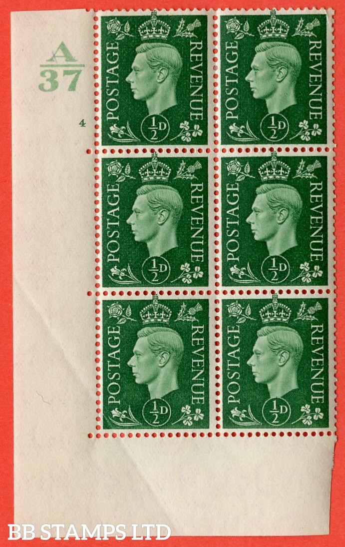 "SG. 462. Q1. ½d Green. A very fine lightly mounted mint "" Control A37 cylinder 4 no dot "" block of 6 with perf type 5 E/I without marginal rule. Bottom left creased."