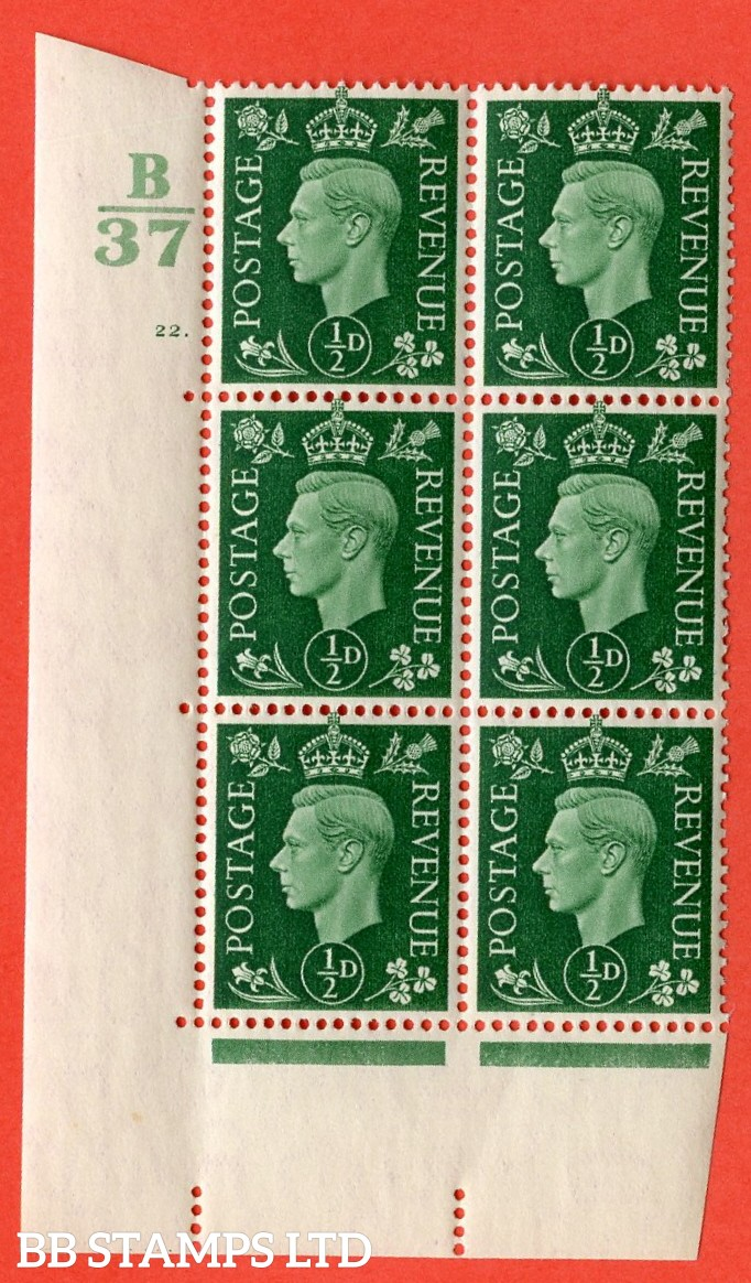 "SG. 462. Q1. ½d Green. A superb UNMOUNTED MINT"" Control B37 cylinder 22 dot "" block of 6 with perf type 5 E/I with marginal rule."