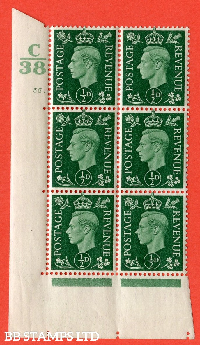 "SG. 462. Q1. ½d Green. A superb UNMOUNTED MINT "" Control C38 cylinder 55 dot "" block of 6 with perf type 5 E/I without marginal rule."