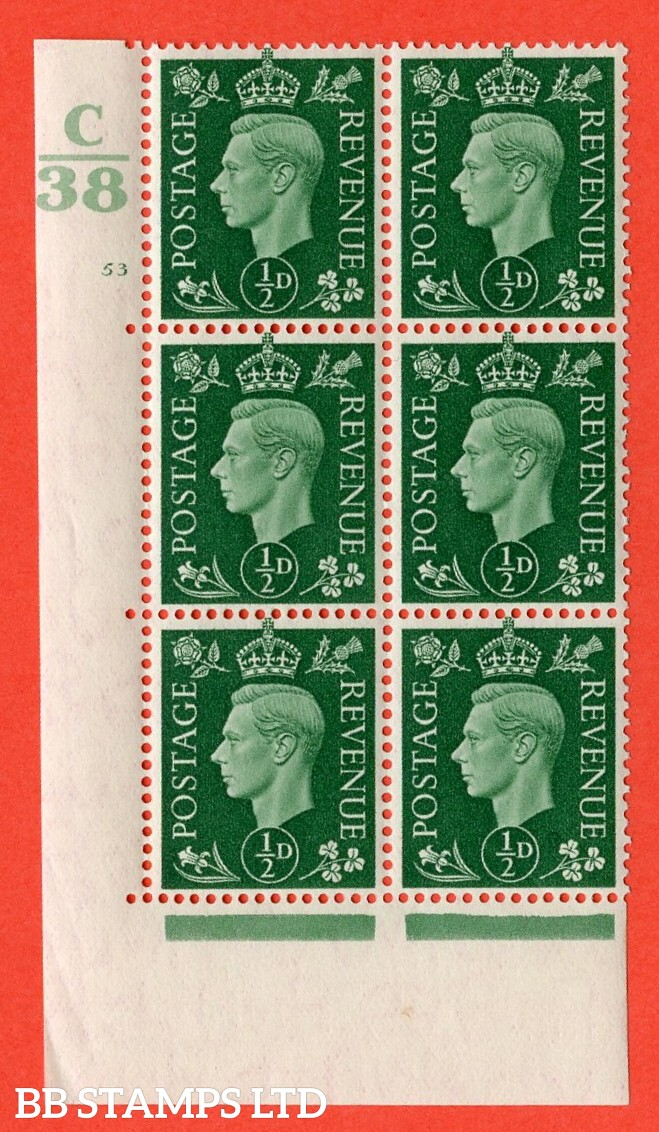 "SG. 462. Q1. ½d Green. A very fine lightly mounted mint "" Control C38 cylinder 53 no dot "" block of 6 with perf type 5 E/I with marginal rule"