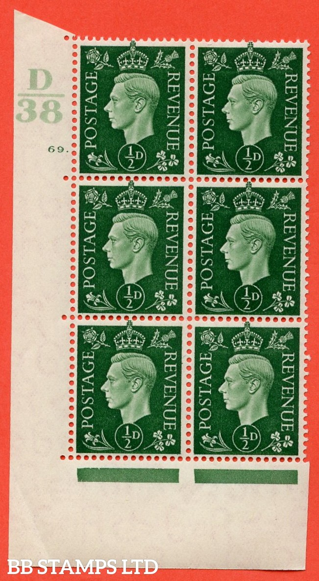 "SG. 462. Q1. ½d Green. A superb UNMOUNTED MINT "" Control D38 cylinder 69 dot "" block of 6 with perf type 5 E/I with marginal rule."