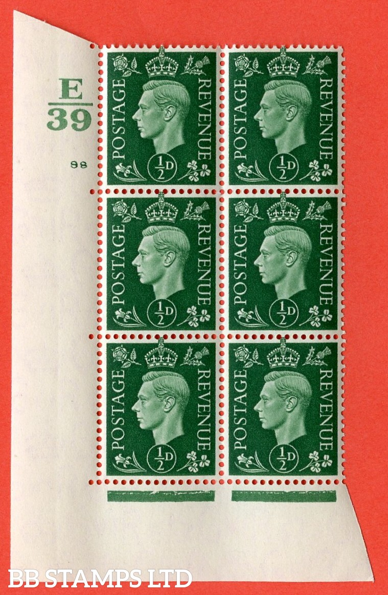"SG. 462. Q1. ½d Green. A superb UNMOUNTED MINT "" Control E39 cylinder 98 no dot "" block of 6 with perf type 5 E/I with marginal rule."