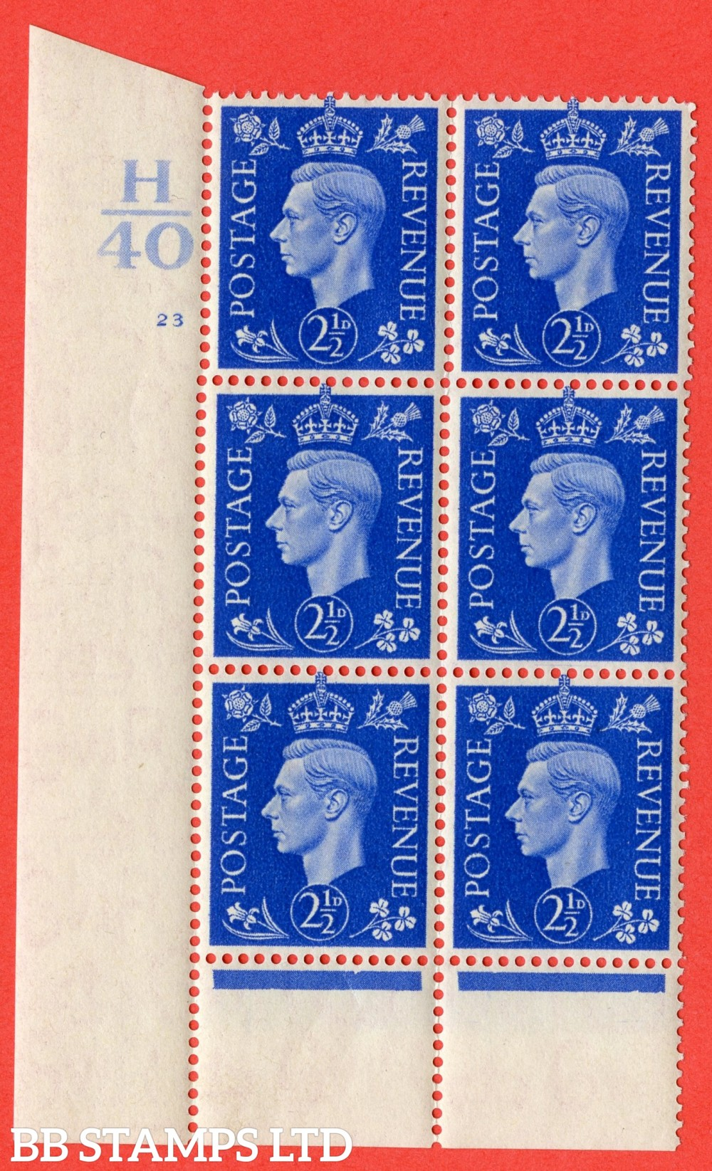 "SG. 466. Q13. 2½d Ultramarine. A fine lightly mounted mint "" Control H40 cylinder 23 no dot "" control block of 6 with perf type 6 I/P with marginal rule."