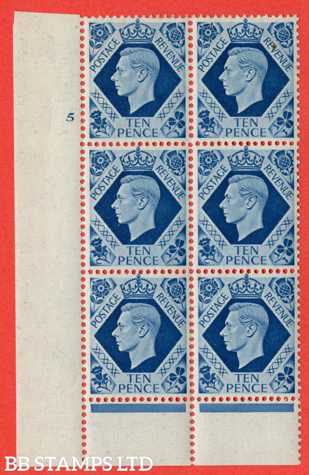 "SG. 474. Q26. 10d Turquoise-Blue. A fine lightly mounted mint "" No Control cylinder 5 no dot "" control block of 6 with perf type 6 I/P."