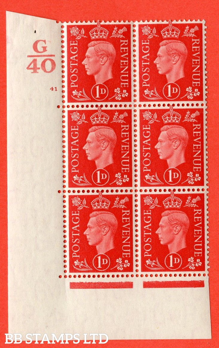 "SG. 463. Q4. 1d Scarlet. A very fine lightly mounted mint "" Control G40 cylinder 41 no dot "" block of 6 with perf type 5 E/I with marginal rule."