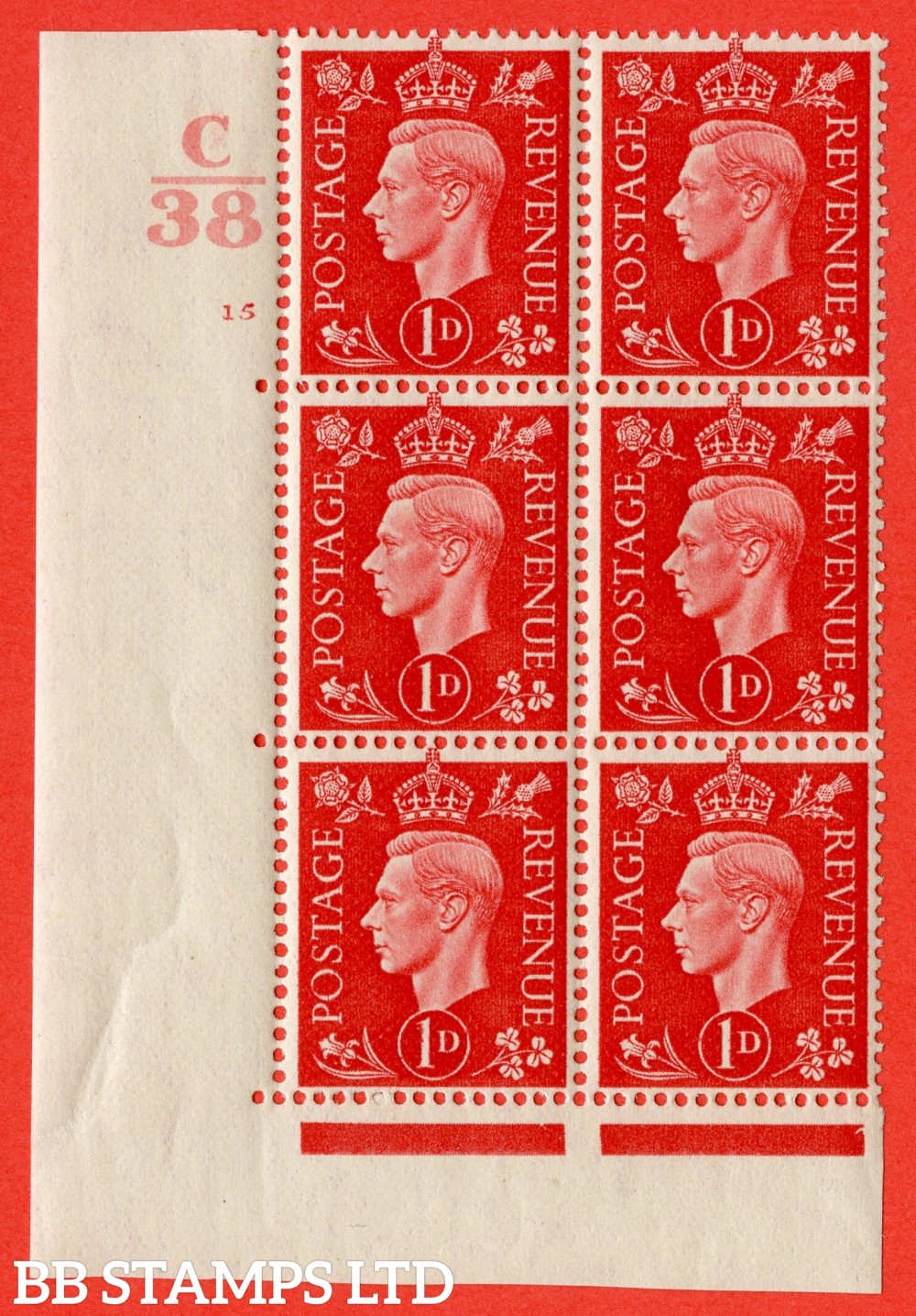 "SG. 463. Q4. 1d Scarlet. A very fine lightly mounted mint "" Control C38 cylinder 15 no dot "" block of 6 with perf type 5 E/I with marginal rule."