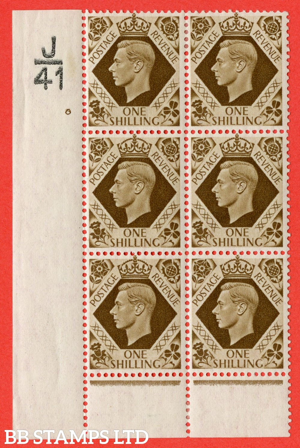 "SG. 475. Q28. 1/- Bistre-Brown. A fine lightly mounted mint "" Control J41 cylinder 6 no dot "" control block of 6 with perf type 6 I/P."