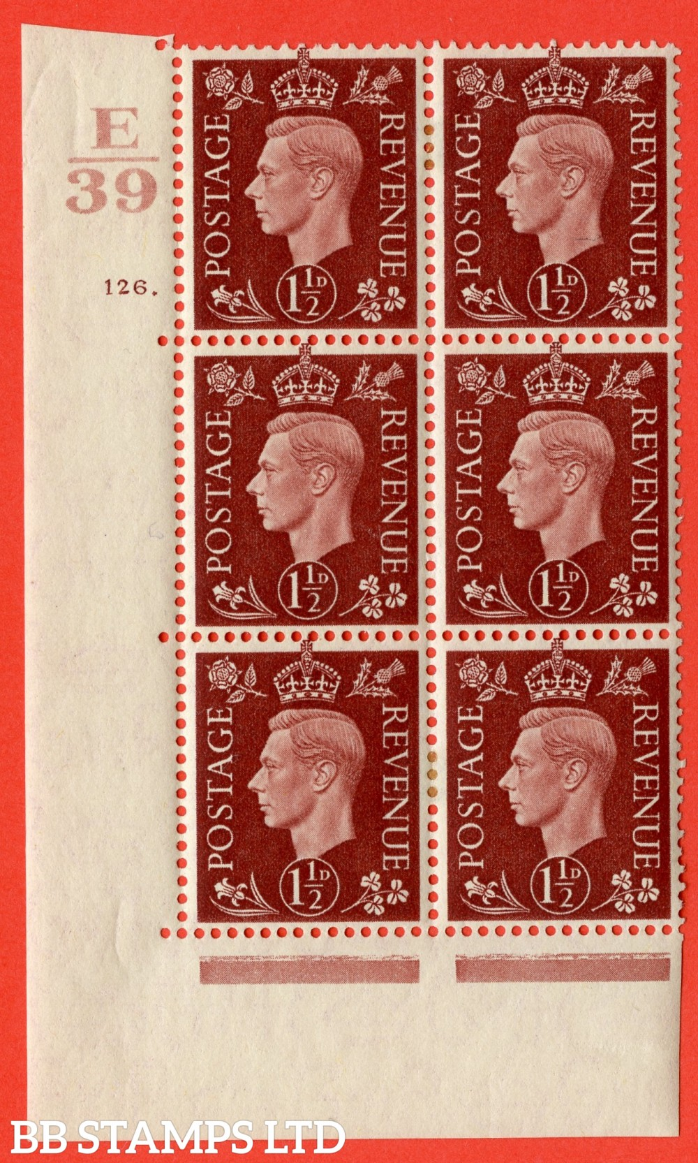 "SG. 464. Q7. 1½d Red-Brown. A very fine mounted mint "" Control E39 cylinder 126 dot "" control block of 6 with perf type 5 E/I. with marginal rule."