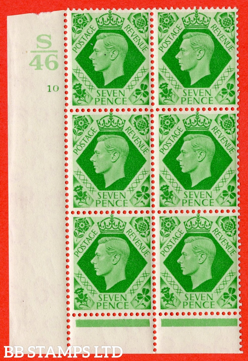"""SG. 471 c. Q23. 7d Emerald-Green. A superb UNMOUNTED MINT """" Control S46 cylinder 10 no dot """" control block of 6 with perf type 6 I/P  with listed variety """" Damaged N in REVENUE """" row 20/2."""