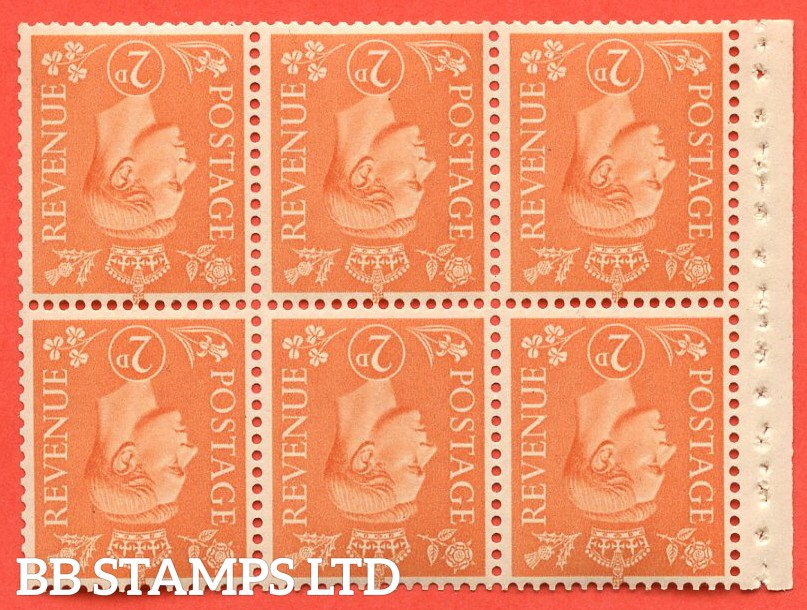 SG. 488 wi. QB30a. 2d pale orange. INVERTED WATERMARK. A fine UNMOUNTED MINT booklet pane of 6. Perf type I.
