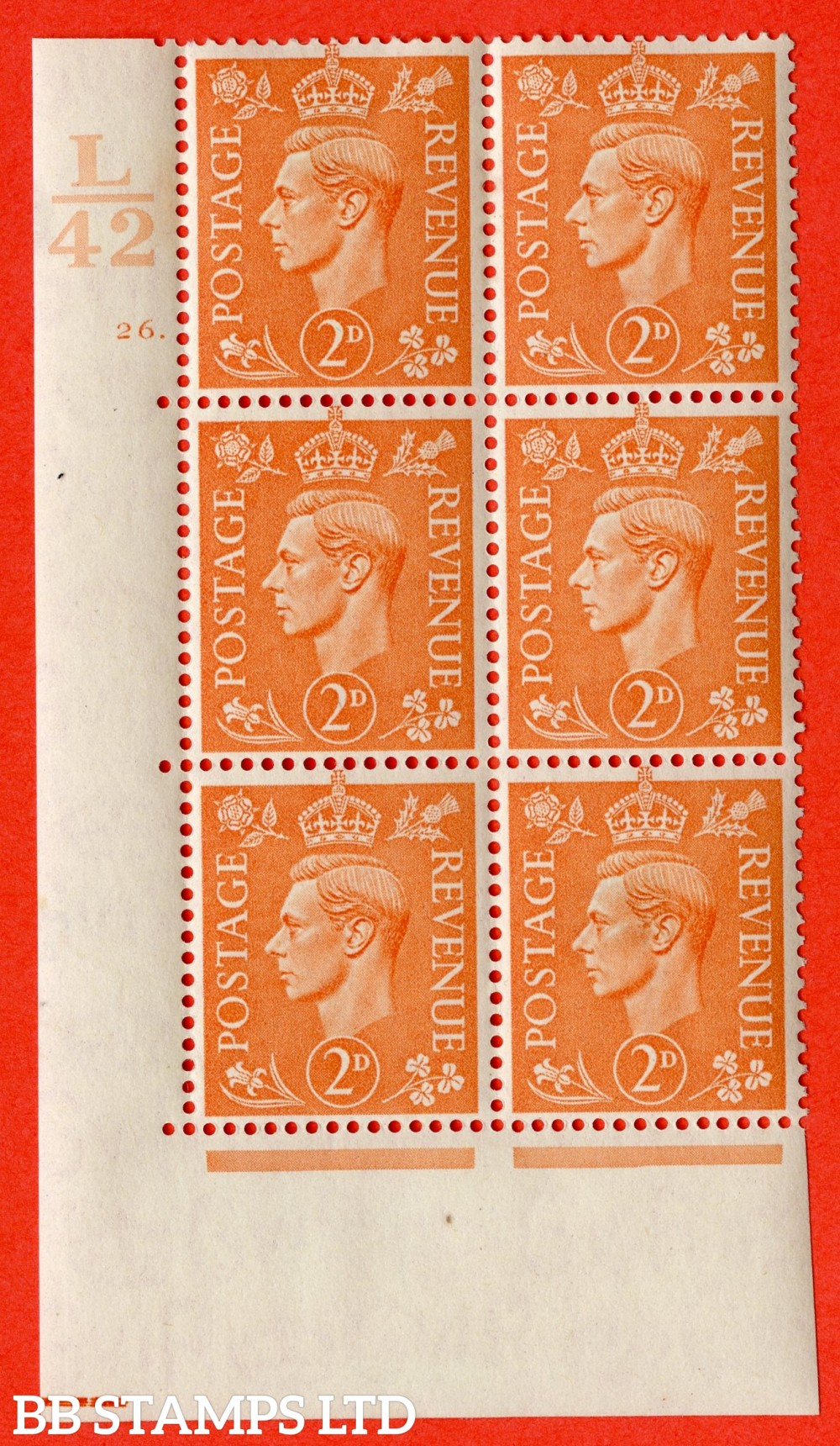 "SG. 488. Q11. 2d Pale Orange. A fine ligthtly mounted mint "" Control L42 cylinder 26 dot "" control block of 6 with perf type 5 E/I."