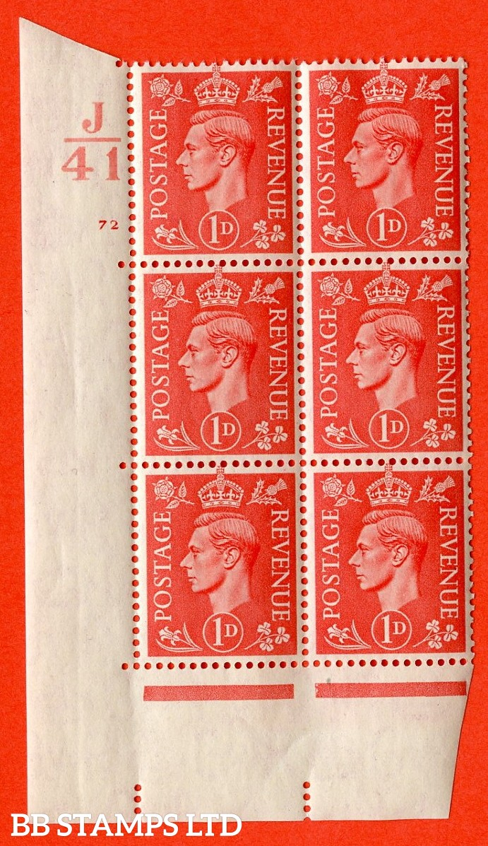 """SG. 486. Q5. 1d Pale scarlet. A superb UNMOUNTED MINT """" Control J41 cylinder 72 no dot """" control block of 6 with perf type 5 E/I."""