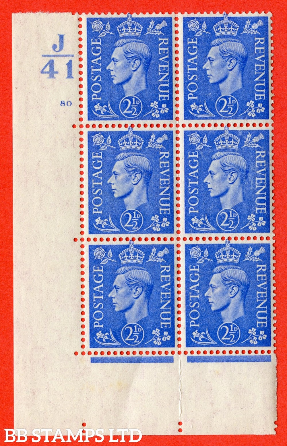 "SG. 489. Q14. 2½d Light ultramarine. A superb UNMOUNTED MINT ""  Control J41 cylinder 80 no dot "" control block of 6 with perf type 5 E/I."