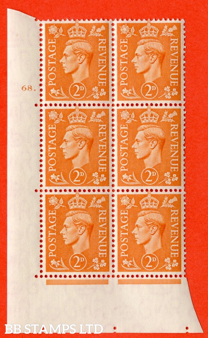 "SG. 488. Q11. 2d Pale Orange. A superb UNMOUNTED MINT "" No Control cylinder 68 dot "" control block of 6 with perf type 5 E/I."