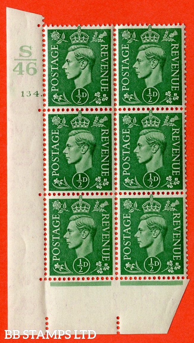 "SG. 485. Q2. ½d Pale Green. A very fine lightly mounted mint "" Control S46 cylinder 134 dot "" block of 6 with perf type 5 E/I with marginal rule."