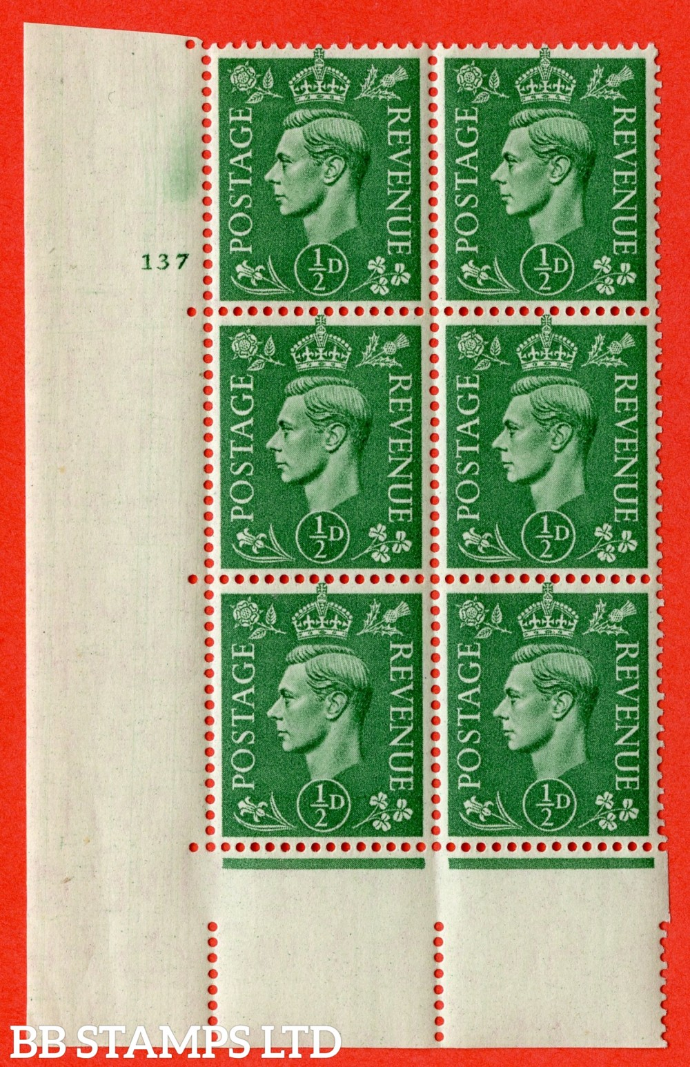 "SG. 485. Q2. ½d Pale Green. A superb UNMOUNTED MINT "" No Control cylinder 137 no dot "" control block of 6 with perf type 5 E/I."
