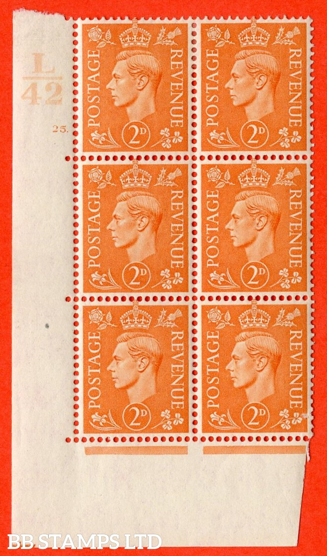 "SG. 488. Q11. 2d Pale Orange. A very fine lightly mounted mint. "" Control L42 cylinder 25 dot "" control block of 6 with perf type 5 E/I."