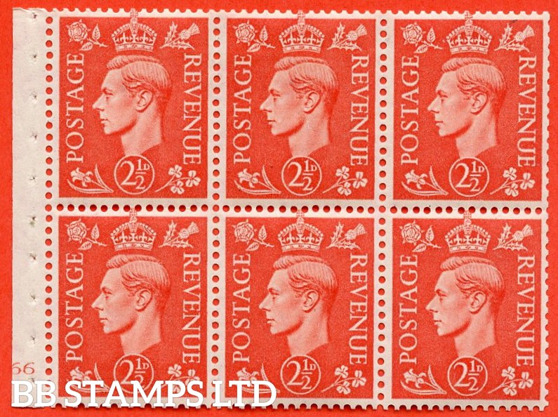 "SG. 507. QB34. 2½d pale scarlet. A fine UNMOUNTED MINT cylinder "" J66 no dot "" booklet pane of 6. Perf type B3(I)."