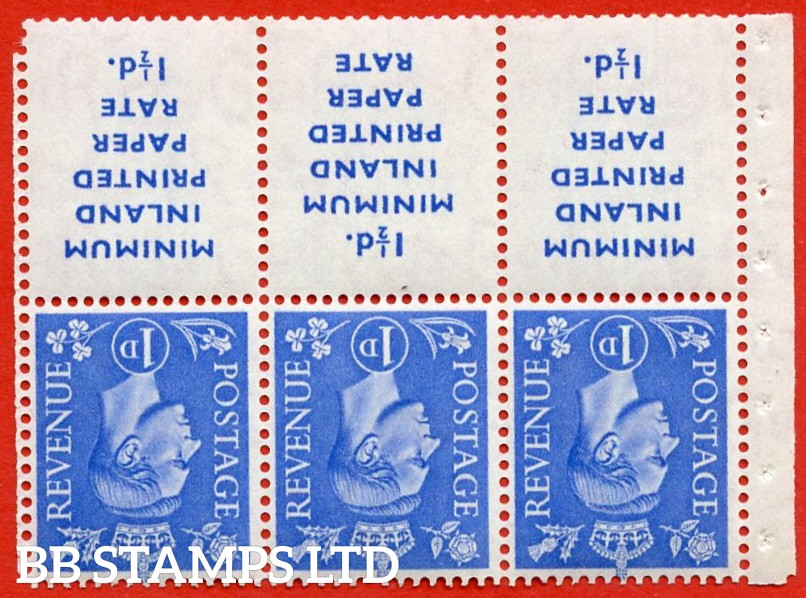 "SG. 504 dwi. Variety QB18a. 1d ultramarine. A fine UNMOUNTED MINT example with "" MINIMUM INLAND PRINTED PAPER RATE "" 17 mm high. Perf type I."