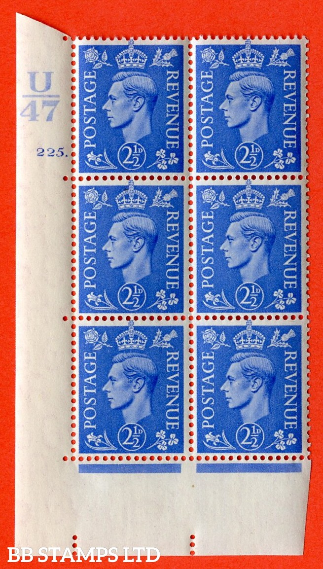 "SG. 489. Q14. 2½d Light ultramarine. A superb UNMOUNTED MINT ""  Control U47 cylinder 225 dot "" control block of 6 with perf type 5 E/I."