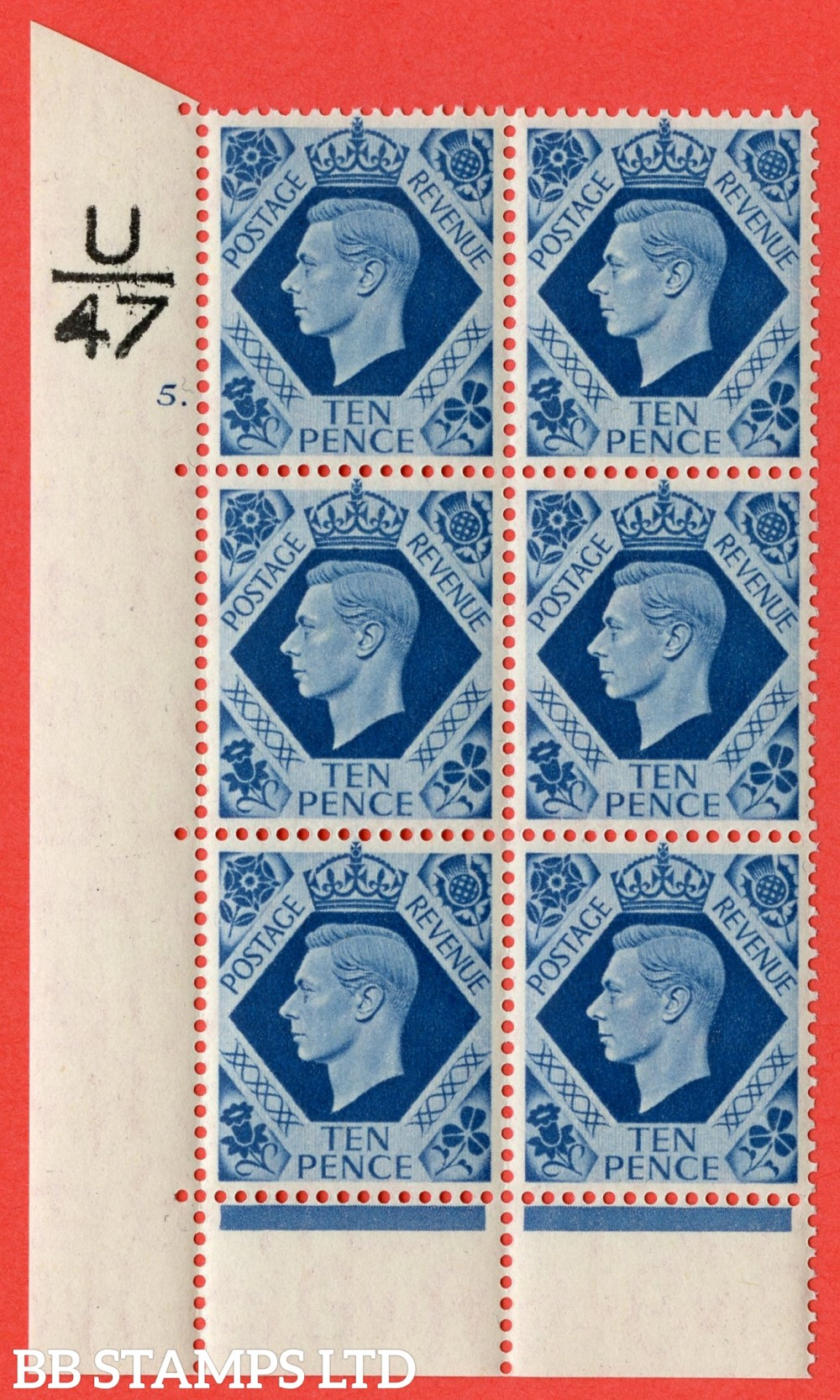"SG. 474. Q26. 10d Turquoise-Blue. A superb UNMOUNTED MINT "" Control U47 cylinder 5 dot "" control block of 6 with perf type 6B E/P."