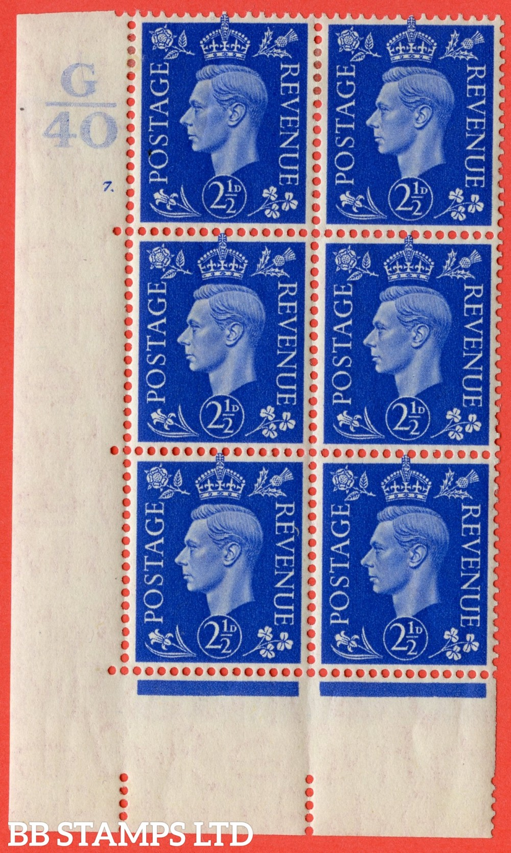 """SG. 466. Q13. 2½d Ultramarine.  A very fine lightly mounted mint """" Control G40 cylinder 7 dot """" control block of 6 with perf type 5 E/I with marginal rule."""