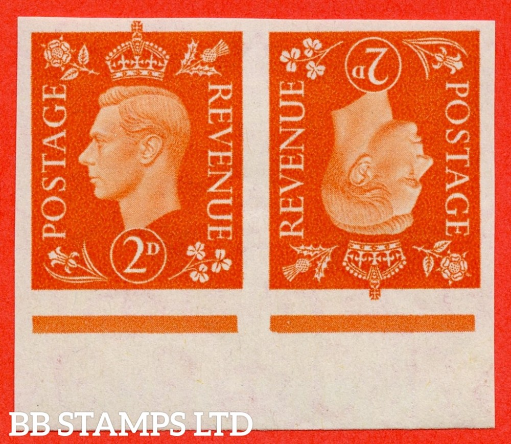 "SG. 465. Q10. 2d Orange.  IMPRIMATUR. A superb UNMOUNTED MINT ' tete beche ' bottom marginal horizontal pair backstamped "" BPMA ""."