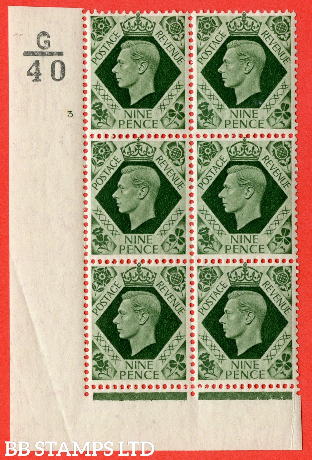 "SG. 473 b. Q25. 9d Olive-Green. A superb UNMOUNTED MINT "" Control E39 cylinder 3 no dot "" control block of 6 with perf type 2 I/E  with listed variety "" Serif touched out "" row 18/1."