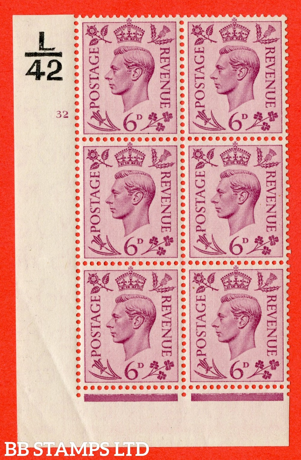 """SG. 470. Q22. 6d Purple. A superb UNMOUNTED MINT """" Control L42 cylinder 32 no dot """" control block of 6 with perf type 2 I/E."""