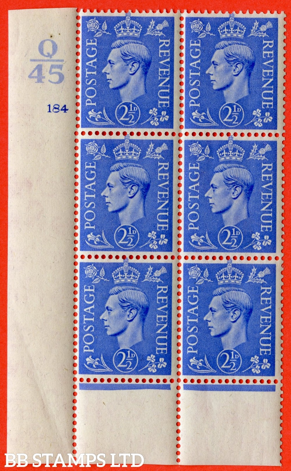 "SG. 489. Q14. 2½d Light ultramarine. A superb UNMOUNTED MINT ""  Control Q45 cylinder 184 no dot "" control block of 6 with perf type 6 I/P."