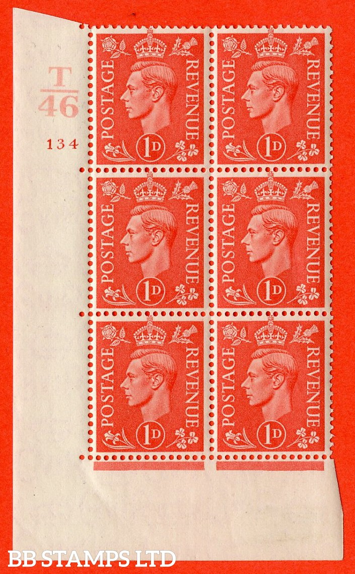 """SG. 486. Q5. 1d Pale scarlet. A fine lightly mounted mint """"  Control T46 cylinder 134 no dot """" control block of 6 with perf type 5 E/I."""