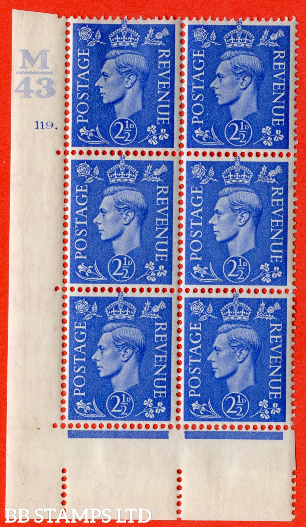"SG. 489. Q14. 2½d Light ultramarine. A very fine lightly mounted mint ""  Control M43 cylinder 119 dot "" control block of 6 with perf type 5 E/I."