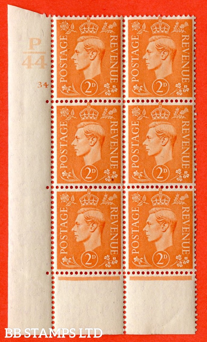 """SG. 488. Q11. 2d Pale Orange. A superb UNMOUNTED MINT """" Control P44 cylinder 34 no dot """" control block of 6 with perf type 6B E/P."""