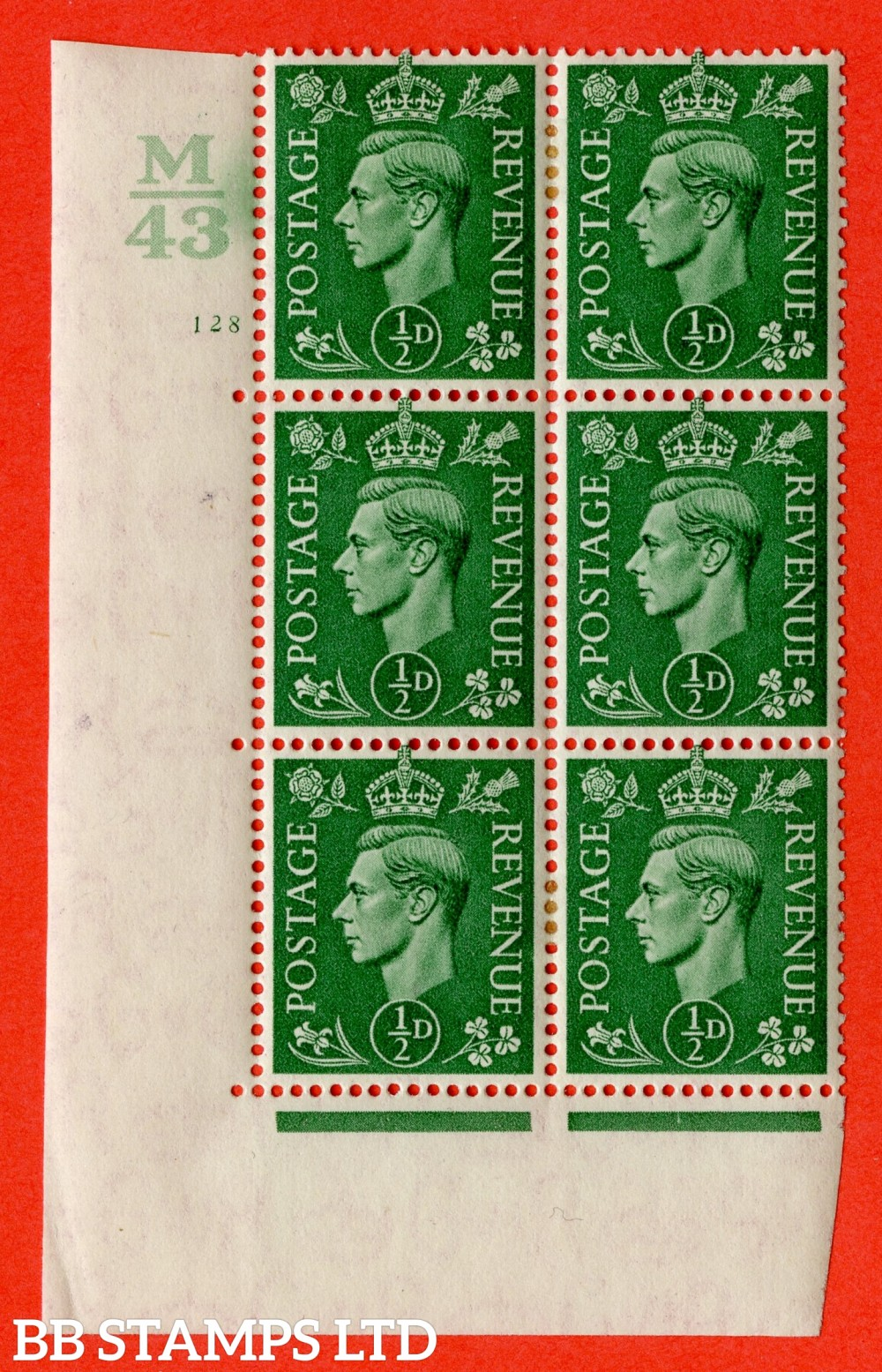 "SG. 485. Q2. ½d Pale Green. A very fine lightly mounted mint "" Control M43 cylinder 128 no dot "" block of 6 with perf type 5 E/I with marginal rule."