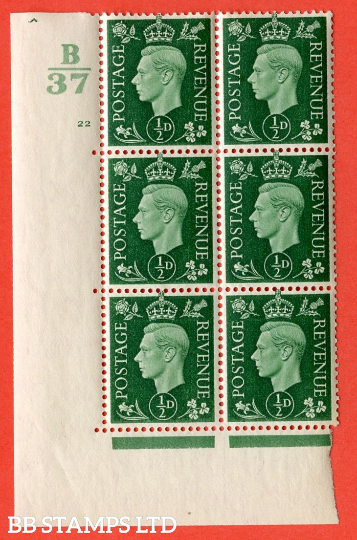 "SG. 462. Q1. ½d Green. A superb UNMOUNTED MINT"" Control B37 cylinder 22 no dot "" block of 6 with perf type 5 E/I with marginal rule."