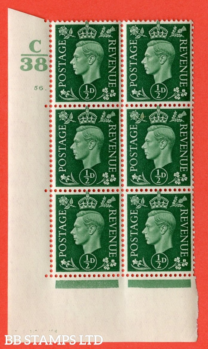 "SG. 462. Q1. ½d Green. A superb UNMOUNTED MINT "" Control C38 cylinder 56 dot "" block of 6 with perf type 5 E/I with marginal rule."