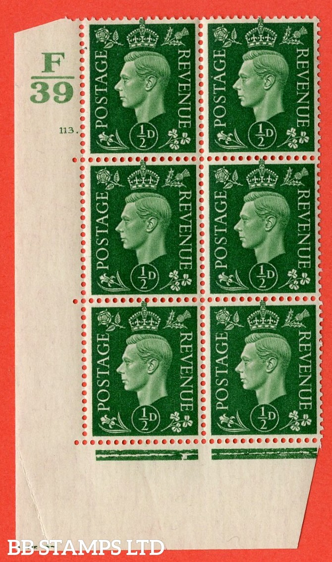"SG. 462. Q1. ½d Green. A very fine lightly mounted mint "" Control F39 cylinder 113 dot "" block of 6 with perf type 5 E/I with marginal rule."