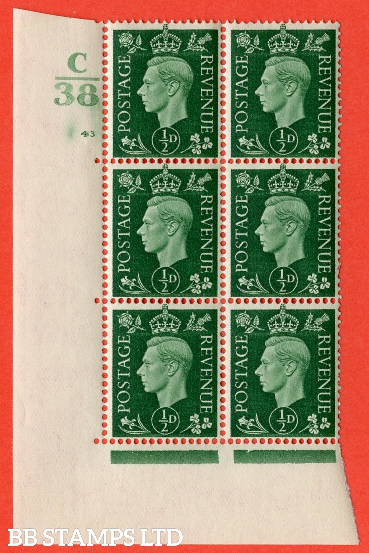 "SG. 462. Q1. ½d Green. A fine lightly mounted mint "" Control C38 cylinder 43 (i) no dot "" block of 6 with perf type 5 E/I with marginal rule."