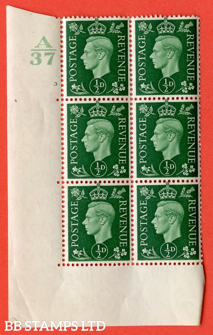 "SG. 462. Q1. ½d Green. A superb UNMOUNTED MINT "" Control A37 cylinder 3 no dot "" block of 6 with perf type 5 E/I without marginal rule."