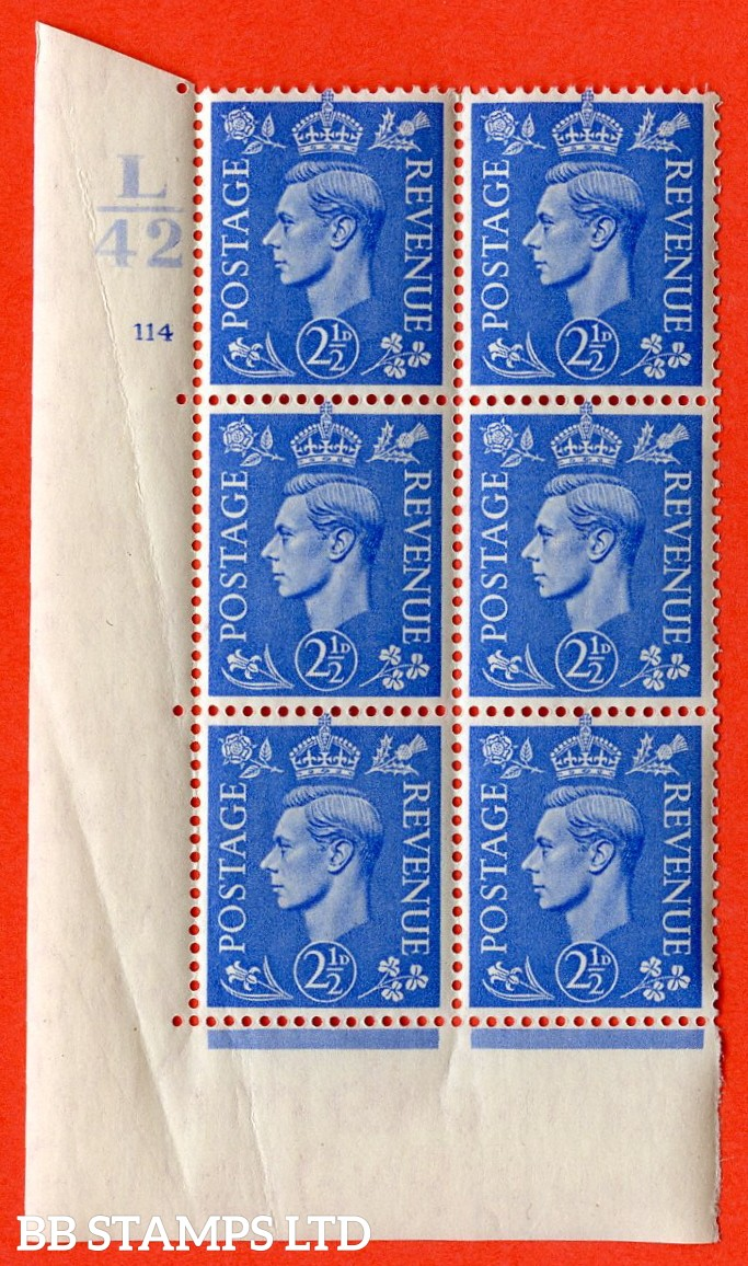 "SG. 489. Q14. 2½d Light ultramarine. A superb UNMOUNTED MINT ""  Control L42 cylinder 114 no dot "" control block of 6 with perf type 5 E/I. Creased."