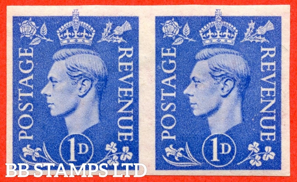 SG. 504 a. Q6b. 1d ultramarine. IMPERF PAIR. A fine lightly mounted mint horizontal pair of the RARE George VI error.