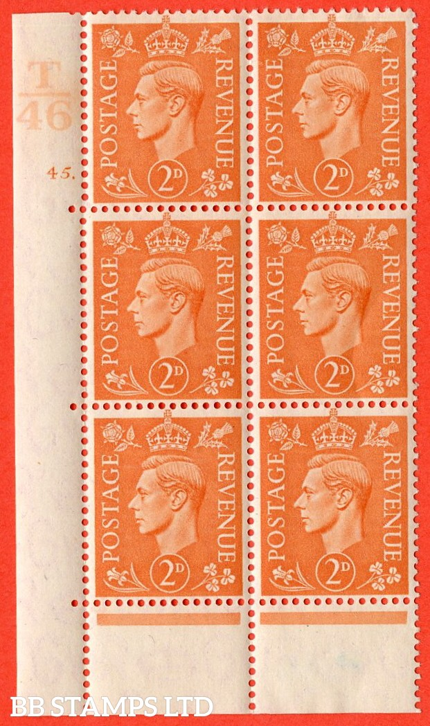 "SG. 488. Q11. 2d Pale Orange. A fine ligthtly mounted mint "" Control T46 cylinder 45 dot "" control block of 6 with perf type 6B E/P."